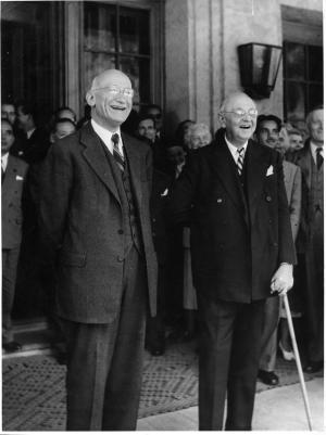 Robert Schuman with Buchman at Caux (Photo: Peter Sisam)